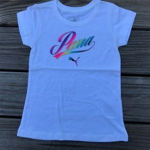 Puma Kids Girl Tee Top White Tee Shirt Size 4T US